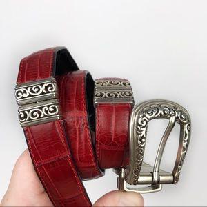 Brighton Reversible Leather Faux Crocodile Belt 34